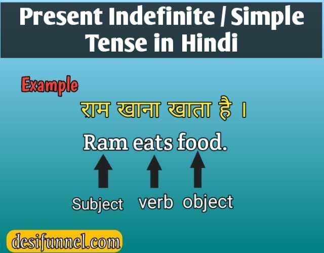 Present Indefinite tense in hindi & english, present simple tense
